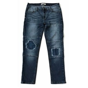 Cello Jeans Skinny Ankle Distressed Denim Patch